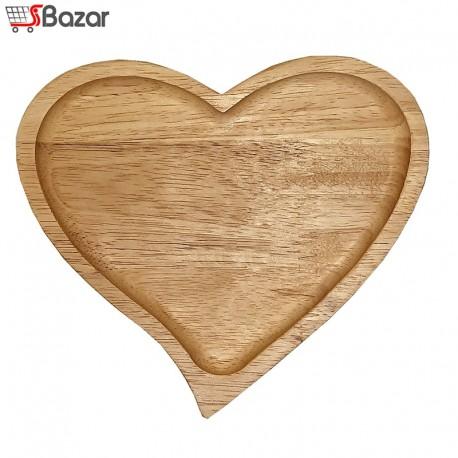 بشقاب چوبی طرح قلب کوچک
