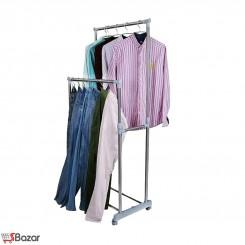 رگال لباس دو ردیفه چرخ دار استیل