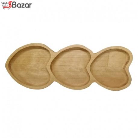ظرف سرو چوبی طرح قلب 3 خانه